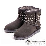 WALKING ZONE(女)經典鉚釘造型內刷毛雪靴-灰(另有黑)