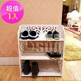 【Osun】DIY木塑板置物架 歐式巴洛克經典白色雕花三層鞋架(CE-178-XJ-001)