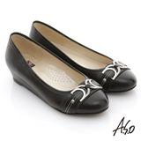 【A.S.O】舒活寬楦 真皮窩心釦飾低跟平底鞋(黑)