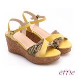 【effie】 摩登美型 真皮拼接民俗風布料楔型涼鞋(黃)