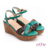 【effie】 摩登美型 真皮拼接民俗風布料楔型涼鞋(綠)
