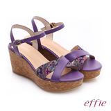 【effie】 摩登美型 真皮拼接民俗風布料楔型涼鞋(紫)
