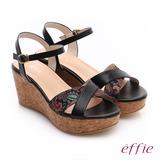 【effie】摩登美型 真皮拼接民俗風布料楔型涼鞋(黑)