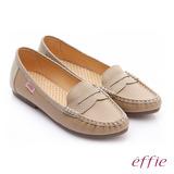【effie】 縫線包仔鞋 真皮點點奈米樂福平底鞋(卡其)