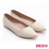 【BESO】 極簡風格 真皮斜口厚軟墊平底鞋(米)
