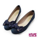 【HOPE】優雅氣質厚雪紡蝴蝶結金飾圓頭娃娃鞋–藍絨(K110B0852)