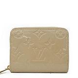 Louis Vuitton LV M90203 經典花紋全漆皮壓紋信用卡零錢包.沙色 預購