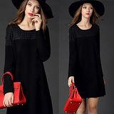 【麗質達人中大碼】2542黑色顯瘦格子洋裝(XL-5XL)