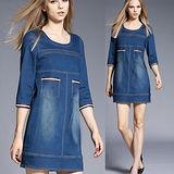 【麗質達人中大碼】2012牛仔修身洋裝(XL-5XL)