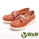W&M(女)皮革穿繩懶人休閒女鞋-棕(另有純白)