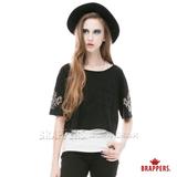 BRAPPERS 女款 個性短版五分袖燙鋁設計上衣-黑