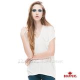 BRAPPERS 女款 雪紡口袋V領上衣-米白