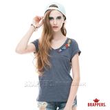 BRAPPERS 女款 手縫珠V領短袖上衣-藍
