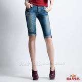 BRAPPERS 女款 Boy Friend Jeans系列-女用五分反摺褲-淺藍