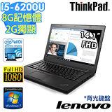 Lenovo ThinkPad T460 14吋/i5-6200U/940MX獨顯/WIN7 PRO 商務筆電(20FNA00WTW) -送ThinkPad原廠防窺片+ 筆電包