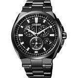 CITIZEN 【鈦】金屬萬年曆5局電波腕錶-黑/44mm BY0044-77E