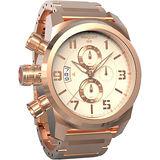 elegantsis JT48 都會叢林計時腕錶-米x玫瑰金/43mm ELJT48S-OO11MA