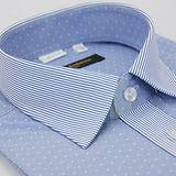 【金安德森】白點深藍細紋變化領紋窄版短袖襯衫