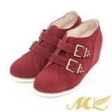 MK-台灣製全真皮-牛麂皮內增高金屬扣環短靴