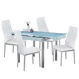 AT HOME-如意玻璃拉合桌椅組-一桌四椅(2色可選)