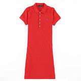 Ralph Lauren 小馬素色連身POLO洋裝(紅)