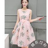 【韓系女衫】s~xl雪紡粉色紗腰帶無袖a圓裙洋裝