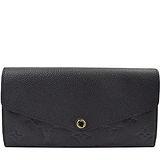 Louis Vuitton LV M61182 Sarah 經典花紋全皮革壓紋扣式長夾.黑 預購