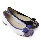 【GREEN PHOENIX】法式蝴蝶結蕾絲花布全真皮平底娃娃鞋