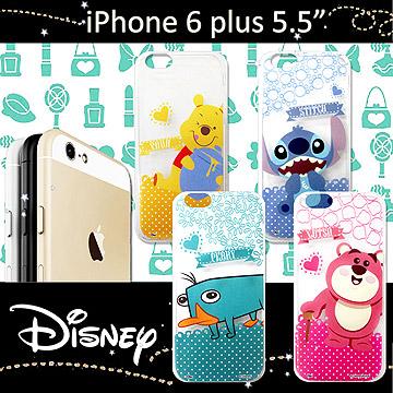 迪士尼授權正版 iPHONE 6 plus 5.5吋 休閒點點透明軟式保護套 手機殼 (新秀組)