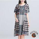 【Maya 名媛】M~2XL 薄料日系抽象圓點幾何圖短袖連衣裙-藍色系