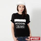 5th STREET 袖拼接雪紡短袖T恤-女-黑色