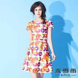 【麥雪爾】珠飾V領彩繪圓圈印花短洋裝