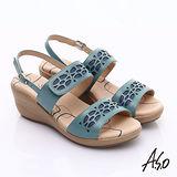 【A.S.O】挺麗氣墊 全真皮寬楦鏤空氣墊楔型涼鞋(藍)