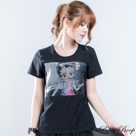 【Betty Boop貝蒂】彩色亮片Betty圓領上衣(共二色) -friDay購物 x GoHappy