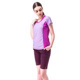 【hilltop山頂鳥】女款PUFY速乾抗UV吸濕排汗抗皺彈性上衣S04FF0-紫/紫