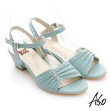 【A.S.O】慵懶旅行 水鑽抓皺綿羊皮低跟涼鞋(淺藍)