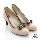 【A.S.O】金屬裝飾 絲光緞布立體結飾窩心高跟鞋(金)
