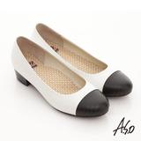 【A.S.O】舒活系列 全真皮壓紋拼接粗跟鞋(白)