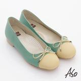 【A.S.O】舒適通勤 全真皮拼接細帶蝴蝶飾平底鞋(淺綠)