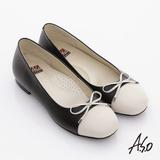 【A.S.O】舒適通勤 全真皮拼接細帶蝴蝶飾平底鞋(黑)