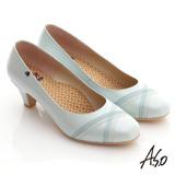 【A.S.O】俐落職場 交叉雙車線窩心奈米中跟鞋(淺藍)