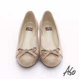 【A.S.O】粉領之戀 真皮鏡面立體蝴蝶結低跟鞋(卡其)