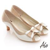 【A.S.O】典雅職場 全真皮立體蝴蝶飾露趾低跟鞋(白)