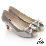 【A.S.O】典雅職場 全真皮立體蝴蝶飾露趾低跟鞋(淺灰)