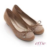 【effie】立體幾何 全絨面羊皮星光水鑽楔型跟鞋(卡其)