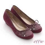 【effie】立體幾何 全絨面羊皮星光水鑽楔型跟鞋(紫紅)