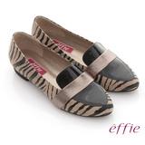 【effie】玩色系列 全真皮拼接斑馬紋平底鞋(卡其)