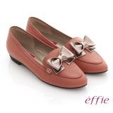 【effie】金屬裝飾 全真皮立體蝴蝶尖頭平底鞋(粉紅)