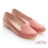 【effie】夏日渡假 全真皮金箔豹紋壓紋樂福鞋(粉橘)