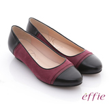 【effie】濃情藝文 全羊皮色塊拼接楔型鞋(酒紅)